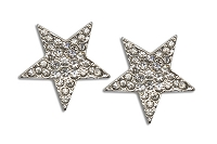 Sassy Clips Silver Star with Clear Crystal Rhinestones